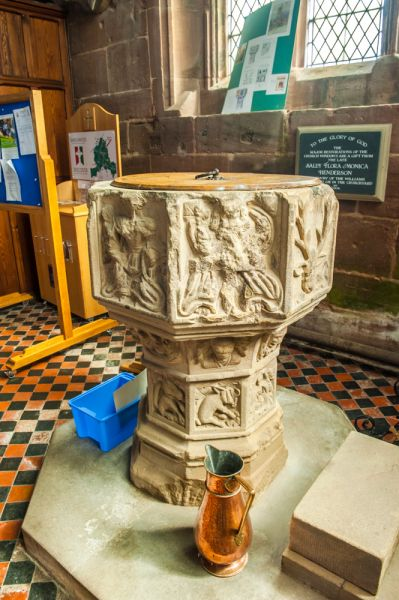 Holt, St Chad's Church photo, The beautifully carved medieval font