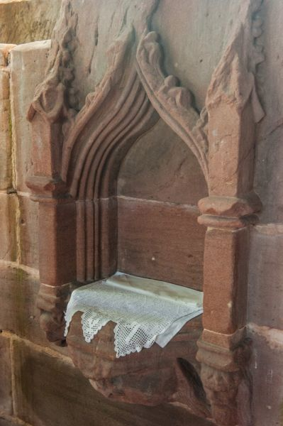 Holt, St Chad's Church photo, The medieval piscina