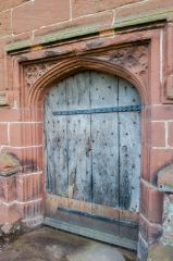 Holt, St Chad's Church, The beautifully carved 15th century tower doorway