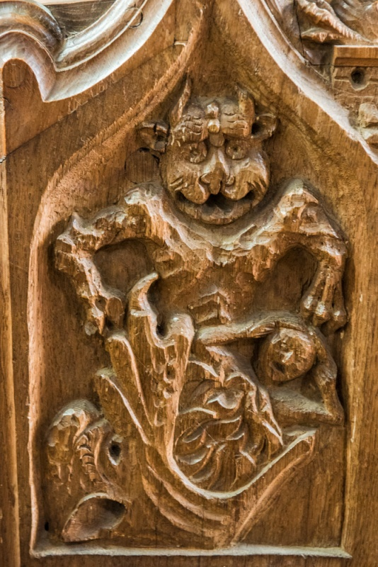 The 'Jaws of Hell' 14th century bench end