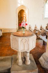 Icklingham, All Saints Church, The 14th century font