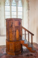 Icklingham, All Saints Church, The beautifully carved Jacobean pulpit