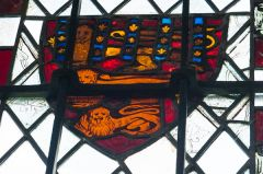Icklingham, All Saints Church, 14th century stained glass panel