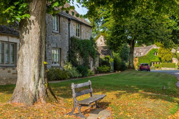 Icomb photo, A quiet bench under a tree opposite the village green