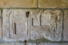 Imber, St Giles Church, 17th century graffiti in the porch