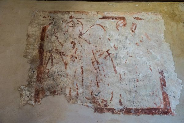 Imber, St Giles Church photo, 15th century wall painting of 'the Weighing of Souls'