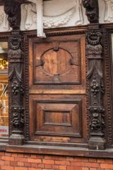 Ancient House, Carved wooden panelling on the front facade