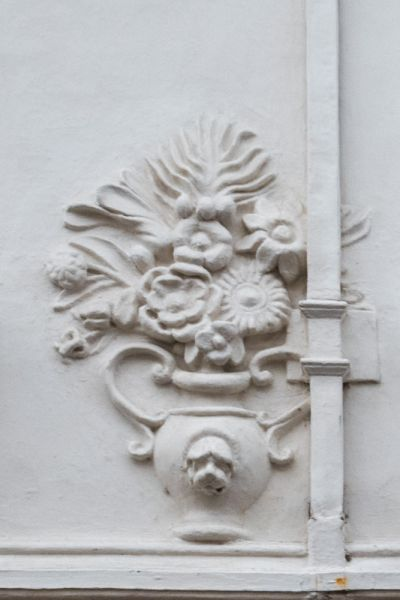 Ancient House photo, Pargeting depicting a vase of flowers