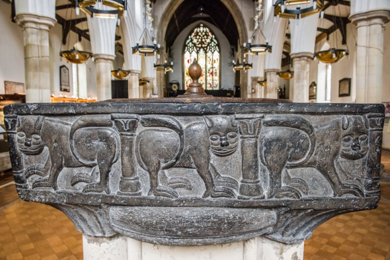 12th century Tournai marble font at St Peters by the Waterfront