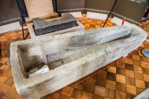 The medieval stone coffin