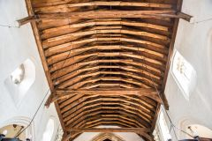 The restored timber roof of the nave