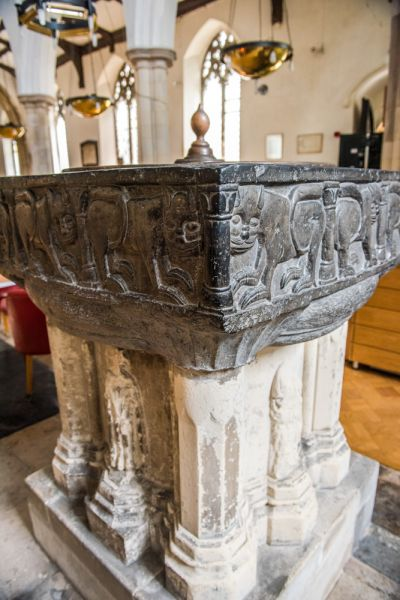Medieval Tournai marble font, St Peter by the Waterfront church