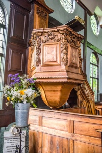 The ornately carved pulpit by Grinling Gibbons