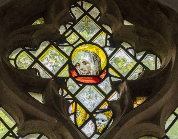 Irstead St Michaels Church photo, Medieval stained glass head
