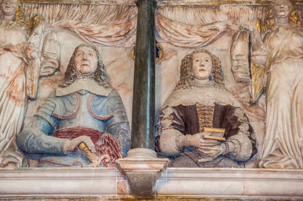Kedleston, All Saints Church photo, Memorial to Sir John Curzon (1686) and his wife Patience (1642)