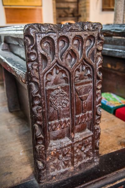Kilkhampton, St James Church photo, One of the superb medieval bench ends