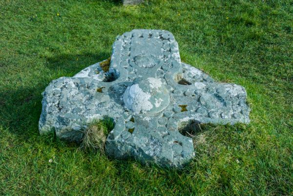 Flora MacDonald's Grave & Kilmuir Cemetery photo, An ancient stone cross head on the ground