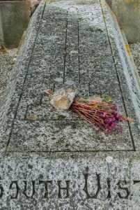 A faded bouquet on Flora Macdonald's grave