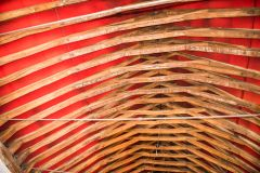 The restored medieval timber roof