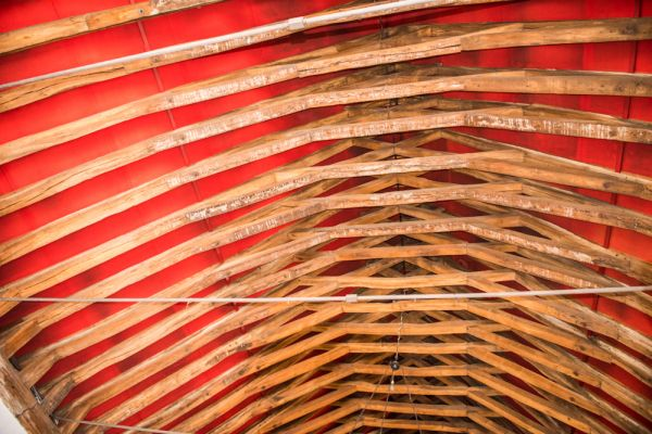 St George's Guildhall photo, The restored medieval timber roof