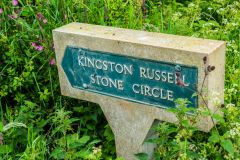 Signpost beside the stone circle's field