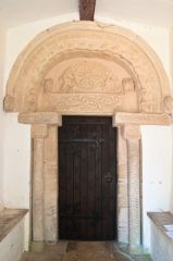The beautifully carved Norman doorway