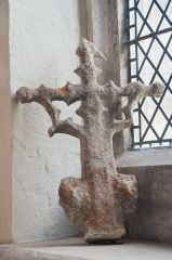 A medieval finial inside the church