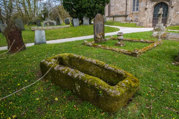 The Norman coffin in the churchyard