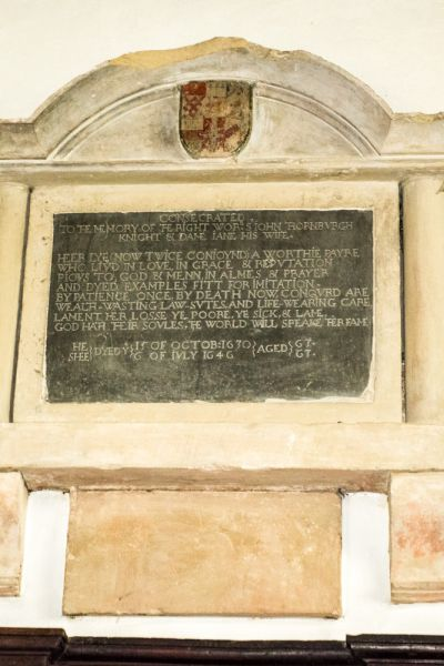 Leckford, St Nicholas Church photo, Sir John Thornburgh memorial (d. 1630)