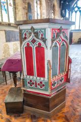 The richly painted 15th century pulpit