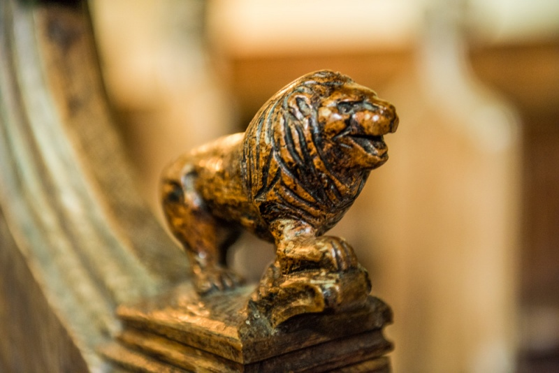 15th century bench end of a lion