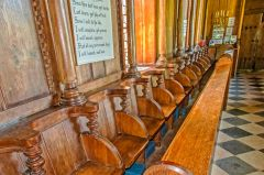 The bench seating in the nave