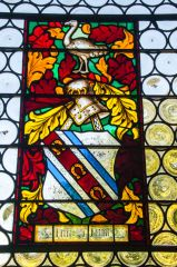 Stained glass window with Ferrar coat of arms