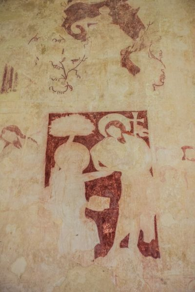 Little Witchingham, St Faith's Church photo, Wall painting of Doubting Thomas
