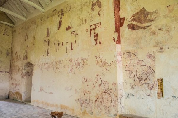Little Witchingham, St Faith's Church photo, 14th century wall paintings on the north wall
