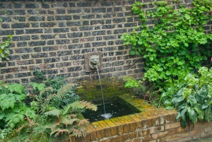 A fountain in the garden