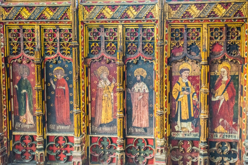 The painted base of the 15th century screen