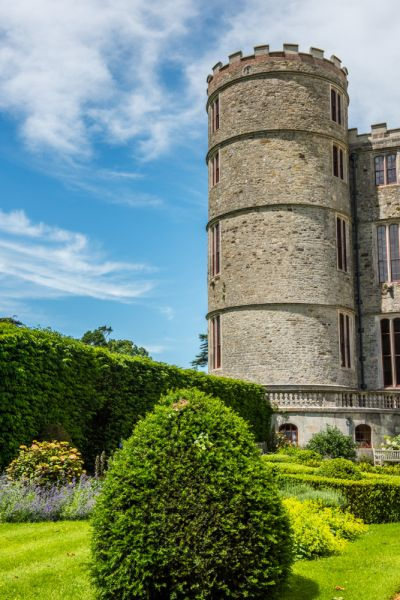 Lulworth Castle photo, A corner tower from the garden