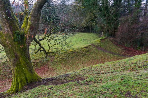 Lydford Castle photo, The fort earthworks from above