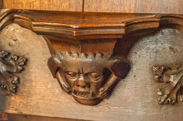 Magdalen College, Oxford photo, Medieval misericord in the Chapel