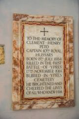 Mapperton, All Saints Church, Memorial to Captain Clement Peto, killed in the Battle of Ypres