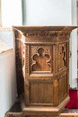 Mapperton, All Saints Church, The finely carved 17th century pulpit