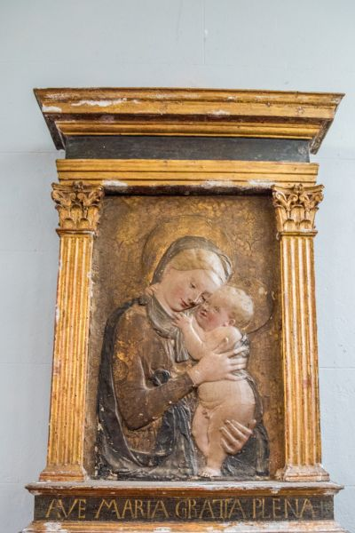 Mapperton, All Saints Church photo, 15th century Italian stucco carving of the Virgin and Child