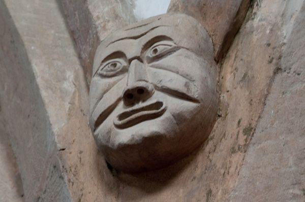 Market Overton Church photo, Grotesque medieval carved head