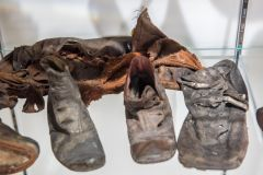 Maryport Maritime Museum, A display of old leather shoes