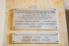 Melplash, Christ Church, WWI and WWII memorial tablets