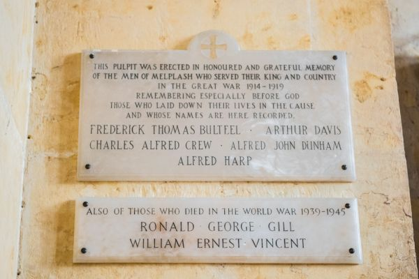 Melplash, Christ Church photo, WWI and WWII memorial tablets