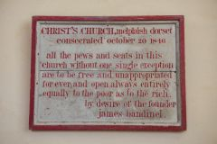 Melplash, Christ Church, The consecration board