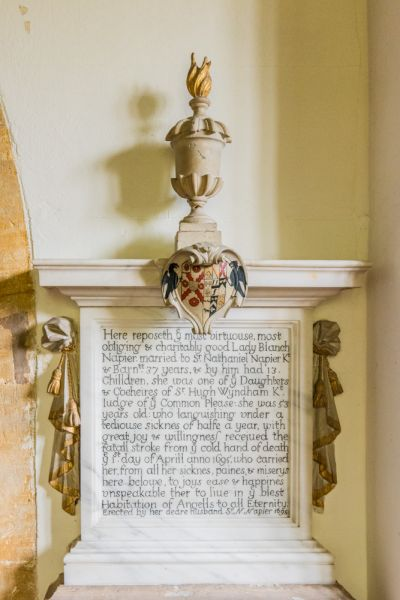 Minterne Magna, St Andrew's Church photo, Lady Blanche Napier memorial, 1695