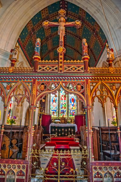 Monkton Wyld, St Andrew's Church photo, The ornate chancel screen